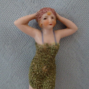 "4"" tall Bisque Bathing Beauty with Bisque Flocked Bathing Suit"