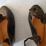 Vintage Black Doll Shoes with ribbon ties..mint cond.
