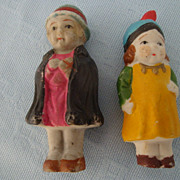 2 Japanese All Bisque Immobile Vintage Dolls