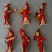 Vintage German Bisque Elf/Pixie Musicians 6 figures