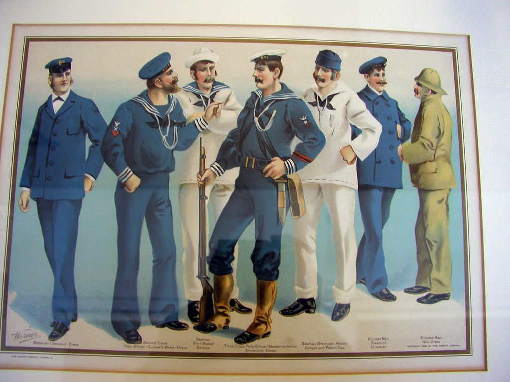 Navy Uniforms by Werner Co. Akron OH 1899 vivid chromolithography ...