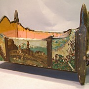 Folk Art Crib with Carved Figure and Tyrolean Scenes