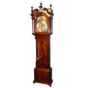 18th c. John Clifton English Mahogany Tall Case Clock
