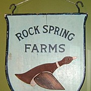 "Wooden Farm Sign with Duck ""Rock Spring Farms"""