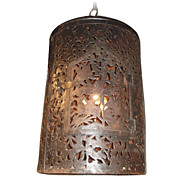 Reticulated Lantern with Fanciful Decoration and Hinged Door