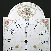 Early 19th c. Hand-Painted Wood Clock Face or Dial