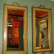 Pair of Large Black & Tan Floral Gilt Wood Mirrors