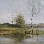 Jean-Baptiste-Camille Corot Oil Painting River Landscape