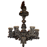 SALE Early 20th c. Baroque Revival Carved Wooden Chandelier Mizner