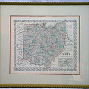 19th c Colton�s Steel Engraved Hand-Colored Map of Ohio
