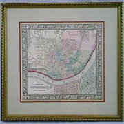 19th c Steel Engraved Hand-colored Map of Cincinnati, Ohio