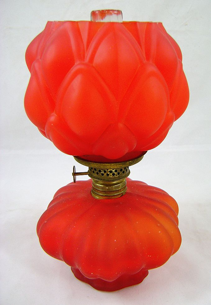Victorian Red Satin Glass Artichoke Miniature Oil Lamp