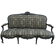 19th c. Rococo Revival Carved Ebonized Oak Sofa Settee