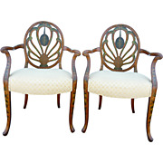 19th c. Pair of Adam Arm Chairs