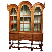 19th c. William & Mary Revival Vitrine Cabinet