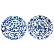 18th c. Pair of Blue & White Delft Chargers