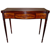19th c. Federal Sheraton Mahogany & Flame Birch Card Table