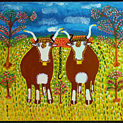 Everett Lewis Canadian Maritime Folk Art Oil Painting Oxen
