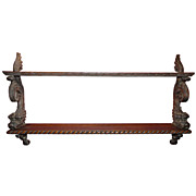 19th c. English Oak Carved Hanging Shelf With Dolphin Supports