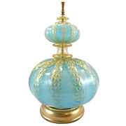 Italian Murano Aqua Glass Lamp with Gold Flecking