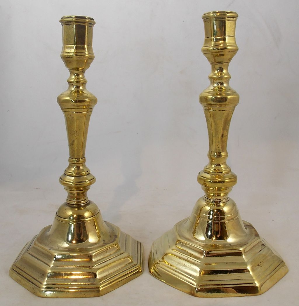 "18th c. Pair of French Brass 9"" Candlesticks"