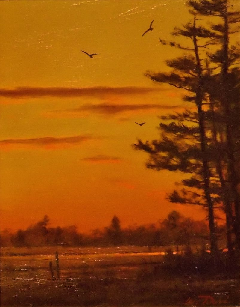 William R. Davis Oil Painting Hampton Marsh Sunset NH