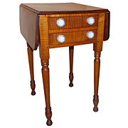 19th c. Sheraton Tiger Maple Stand with Sandwich Glass Pulls