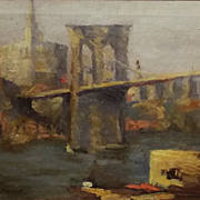 Hobart Nichols Jr Oil Painting Brooklyn Bridge New York