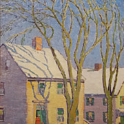 Harry A. Neyland Oil Painting Old Quaker Houses, 1916