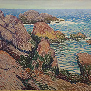 Harry A. Neyland Oil Painting Seascape Forbidding Rocks #2