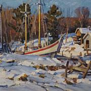 T.M. Nicholas Oil Painting Boats Docked in Winter