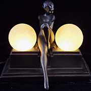 Frankart Art Deco Nude Woman Lamp with Frosted Globes