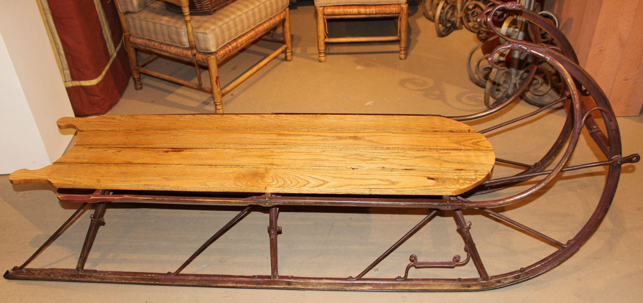 Sleigh coffee table coffee table in the form of a sled at 1stdibs oak sleigh form coffee Antique sleigh coffee table