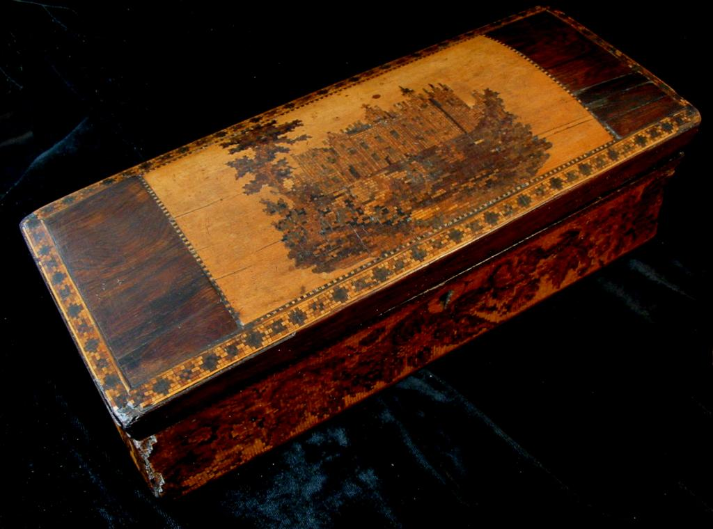 Antique 19th C Century GEORGIAN Tunbridgeware Box with CASTLE & Roses To Die For!