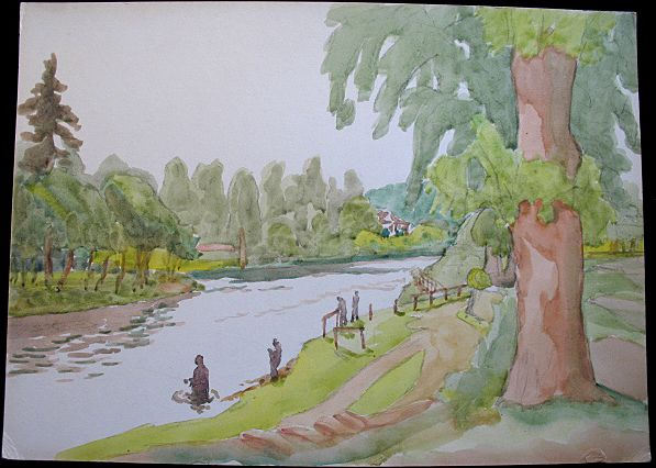 Vintage 1930s 40s Large English Watercolor Painting MEN FiSHING in River STUNNING!