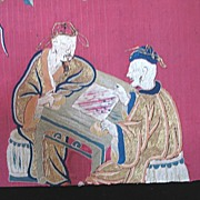 Antique CHINESE Silk Panel EMBROIDERY 19th C Century Qing MEN Playing Chess Very RARE