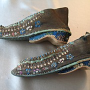 Antique 19th C Century Chinese QING Embroidered Bound Feet/Lotus Shoes 5.5 Inches RARE!