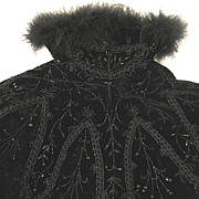 Antique 19th C Century French NAPOLEON III Steampunk Black Velvet Cape JET Beaded SWAN Border