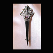 Vintage SCOTTISH Silver Pin Brooch ONYX Amethyst Marcasites Celtic Large TO DIE FOR