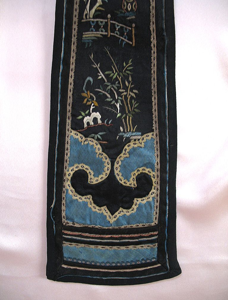 Antique Chinese Qing Court Embroidery 19th C Century FIGURAL RARE