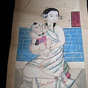 Antique CHINESE Qing Scroll Painting 19th C Century Young Mother With Child VERY RARE