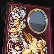 Antique FRENCH Napoleon III Frame 19th C Century Embroidered Velvet with Griffin DIVINE
