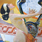 Antique 19th C Century Listed KUPKA French ART NOUVEAU Print Lithograph Signed Magnificent Nud