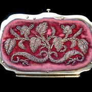 Antique 19th C Century French Napoleon III Embroidered/Metallic Embroidery LADY Coin Purse DIV