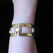 REDUCED Vintage Guy LAROCHE Paris Large 2 Sides Link Bracelet Signed Very COUTURE!