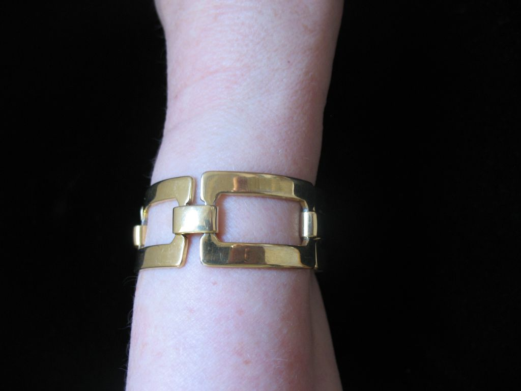 Vintage Guy LAROCHE Paris Large 2 Sides Link Bracelet Signed Very COUTURE!