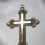 Antique French Victorian Napoleon III Ornate Cross Gold Filled 19th C Century EXQUISITE!