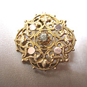 Antique 19th C Century French NAPOLEON III Ornate Gilt Pin Brooch DIVINE!