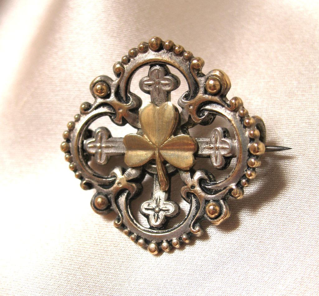 Antique 19th C Century French Napoleon III Ornate Pin Brooch  FLEUR de Lis SHAMROCKS EXQUISITE!