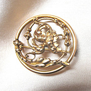 Antique 19th C Century French Art NOUVEAU  Pin Brooch FLORAL Openwork EXQUISITE!